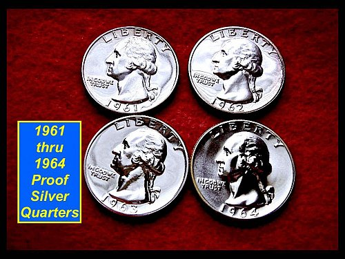 FOUR Coin Lot of PROOF Quarters  1961, 1962, 1963, 1964 ☆ ☆  (#2312)