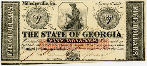 1862 $5.00 Milledgeville Georgia State Currency, CR-5, Uncirculated