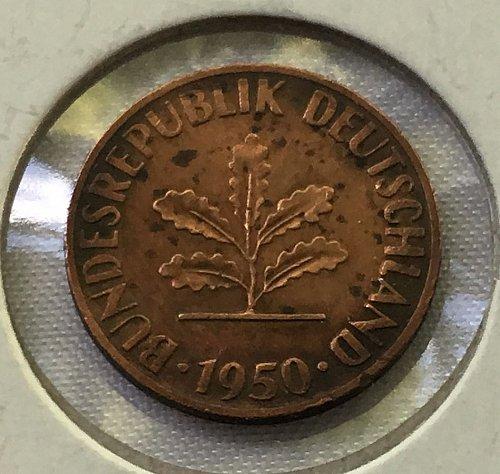 1950 D Germany - Federal Republic 1 Pfennig