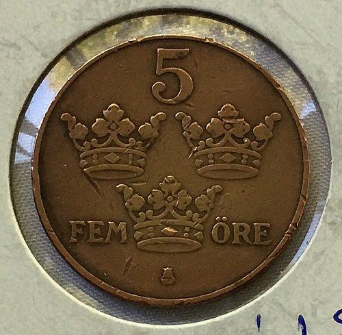 1929 Sweden 5 Ore