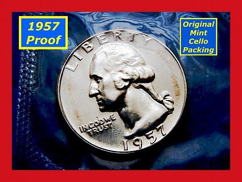 1957 Cameo Proof Quarter •Original Mint Cello Pack ••  (#2451)
