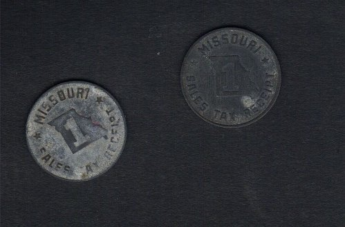 (2) Each-Token: US Missouri Sales Tax Receipt Zink Tokens 1925 to 1940