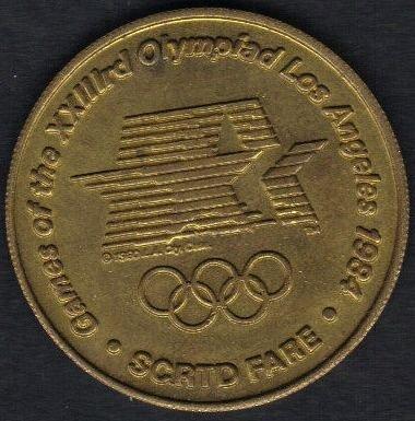 1984 Commemorative Olympiad Games SCRTD FARE Token Metal XXIIIrd Los Angeles/Arc
