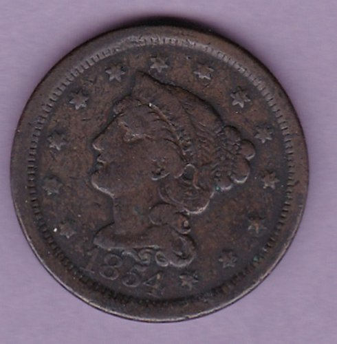 1854 Braided Hair Liberty Cent  (N154)
