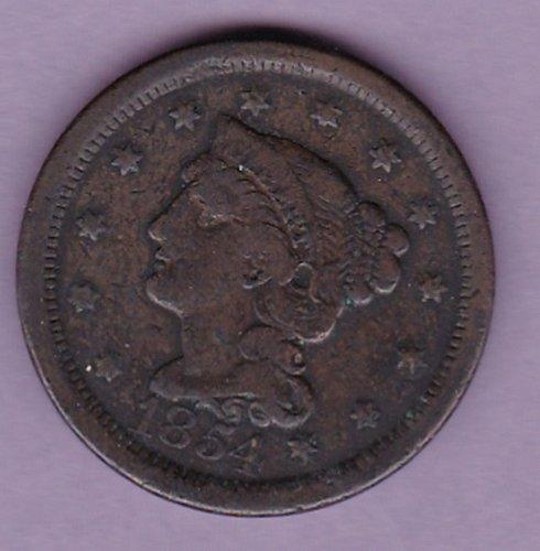 1854 Braided Hair Liberty Cent  (N154)
