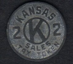 1924-1940 Kansas Sales Tax Token Zinc Metal 2 Cents In Tax Fine