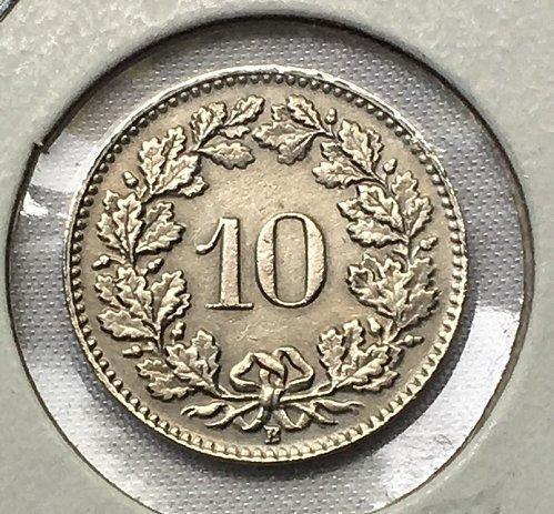 1954 B Switzerland 10 Rappen