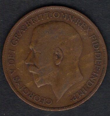1922 George V One Penny Dei Gra:Britt:Omn:Rex Ef-40
