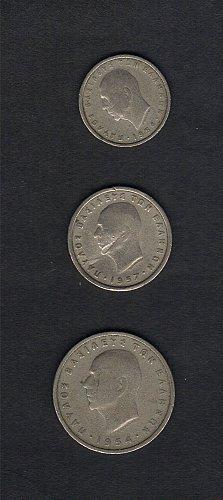 (3) GREECE COINS 1954/1957 (1 ,2 and 5 DRACHMAI) COINS  Greek King Paul I -XF