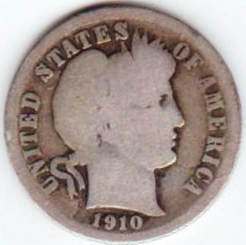 6 Barber Dimes. 1899-S, 1908, 1909, 1910, 1910-D, 1916-S