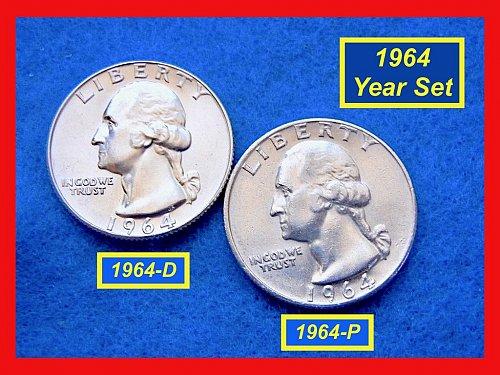"""1964-P & D Washington SILVER Quarters • Grade """"AU-UNC"""" •(#2553)"""