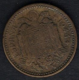 Espana Spain 1944 Una grande libre 1 peseta 1944 Numismatics WW2 Coin VF