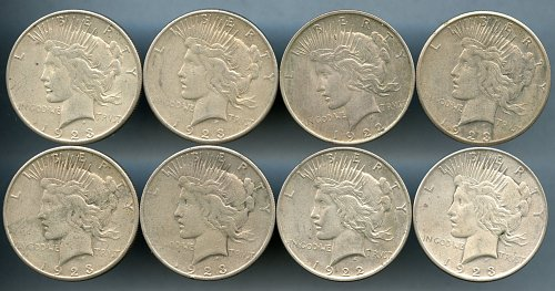 8 Common Date Peace Dollar Lot - Fine to Very Fine Condition