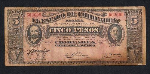 Vintage 1915 Antique Circulated Unc El Estado De Chihuahua Cinco Five Pesos Mexi