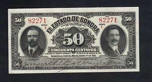 Vintage 1915 Antique 50 Centavos El Estado de Sonora, Hermosillo XF