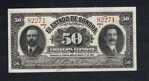 Vintage 1915 Antique 50 Centavos El Estado de Sonora, Hermosillo XF