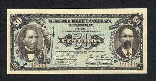 Vintage 1915 Antique 50 Centavos El Estado Libre y Soberano de Sinaloa XF