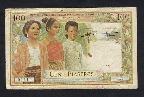RARE-1954 FRENCH INDOCHINA LAOS ISSUE 100 PIASTRE P-103 F-VF RARE BANKNOTE INDO-