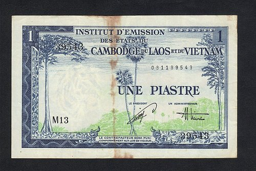 1953 FRENCH INDOCHINA LAOS ISSUE UNE PIASTRES F-VF RARE BANKNOTE-INDO-CHINA