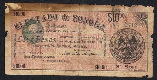 Vintage 1913 Antique Circulated 10 Peso El Estado de Sonora, Hermosillo Banknote