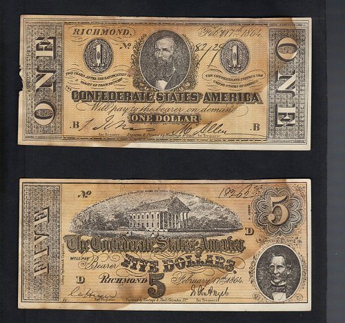 1864 Confederate States Of America Relpica $1 And $5 Dollar Bills Richmond,VA