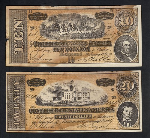 1864 Confederate States Of America Replica $10 And $20 Dollar Bills Richmond,VA