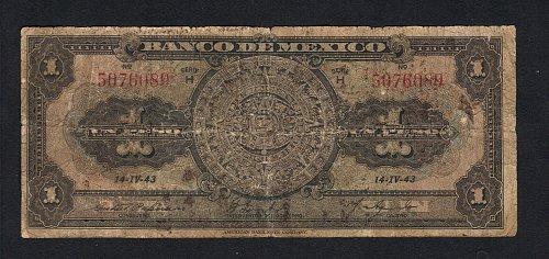1943 Banco De Mexico Un Peso Note-Circulated VF