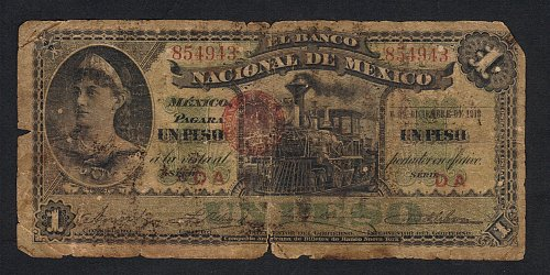 Rare 1913 Antique Nacional De Mexico Un Peso-Circulated VF