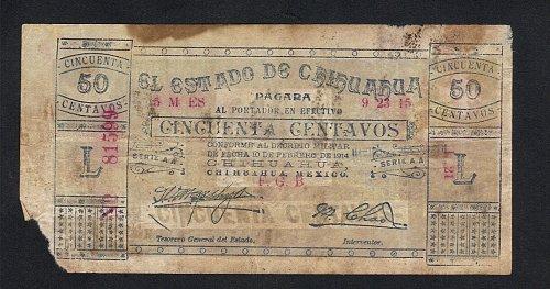 1914 El Estado de Chihuahua Antique 50 Centavo Note Fine-Minor Damage -Circulate