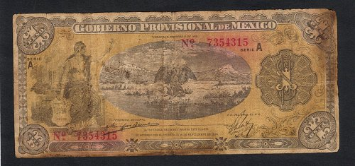 Rare 1915 Antique Gobierno Provisional de Mexico, Veracruz Un Peso VF