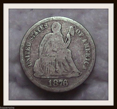 1876-CC 10C Liberty Seated Silver Dime