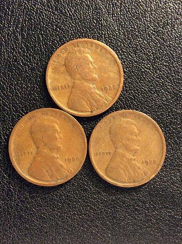 THREE 1920-P LINCON WHEATS / CONDITION G4