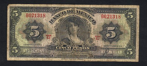 Banco de Mexico 5 pesos 1954 Bank Note   Sept.08,1954  Xtra Fine