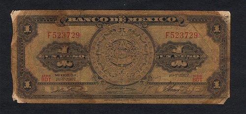 Banco de Mexico 10 pesos  1967 Bank Note 05.10,1967 Tehuana Fine