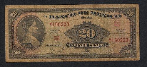 Banco de Mexico Bank Note 20 pesos 1970   07.22,1970 La Corregidora Xtra Fine