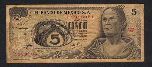 El Banco De Mexico 5 pesos 1972    06.27,1972 La Corregidora. Xtra Fine