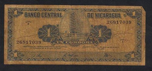 1968 BANCO CENTRAL DE NICARAGUA UN CORDOBA .05.16,1968 SERIE B 26817039-FINE