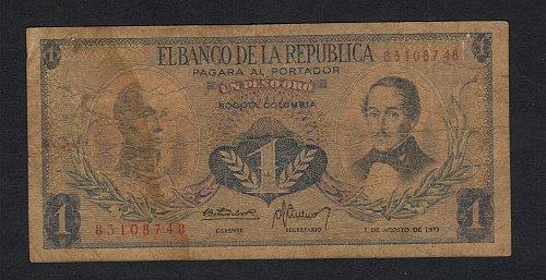 Elbanco de la Republica Aug 7,1973 uno peso oro bogota columbia-Xtra Fine