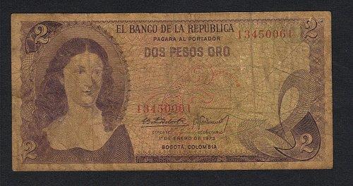 Elbanco de la Republica dos 1 de enero de 1973 peso oro bogota columbia-Xtra Fin