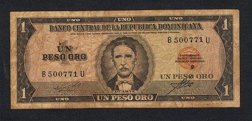 Banco Central De La Republica Dominicana 1973 Un Peso Oro -Duarte Xtra Fine