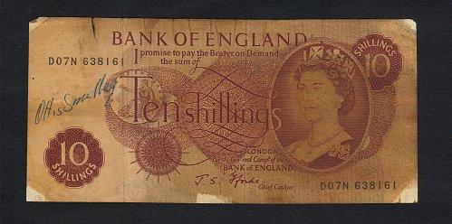Great Britain 10Shilling  bank note Queen Elizabeth (1960-64 Serial No.D07N 6381