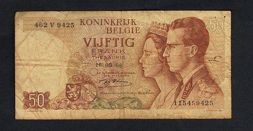 1966 Kingdom of Belgium 50 Frank ~~~~Koninkrijk belgie vijftig frank 50~~~~~Roya