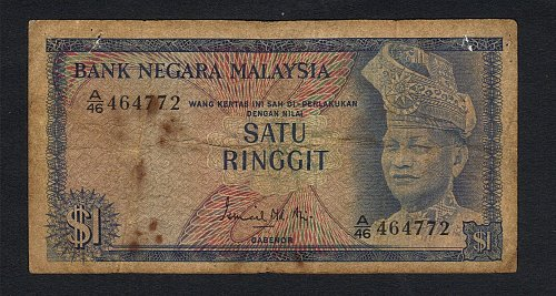 1967-72-Malaysia-1st-Series-1-Ringgit-Banknote-VF-Circulated