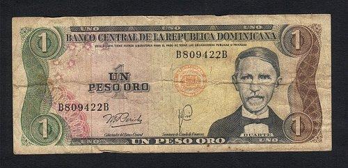 1 PESO ORO Banknote DOMINICAN REPUBLIC 1974-1980 Juan Pablo DUARTE -VF-Circulate