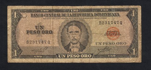 Duarte-DOMINICAN-REPUBLIC-1964-73-1-Peso-Oro-Banknote-VF-Minor Damage