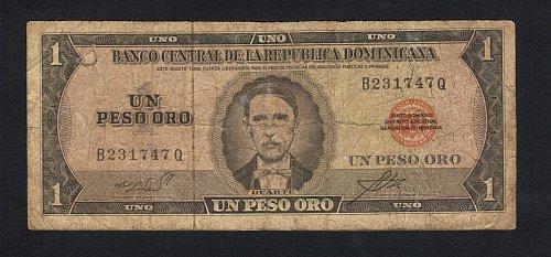 Duarte-DOMINICAN-REPUBLIC-1964-73-1-Peso-Oro-Banknote-VF-Minor Damage