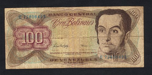Venezuela 100 Bolivares 1987-1998 Banknote Simon Bolivar-VF