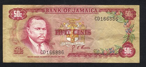 Jamaica 50 Cents 1960 (1970) in (VF) Condition Banknote P-53