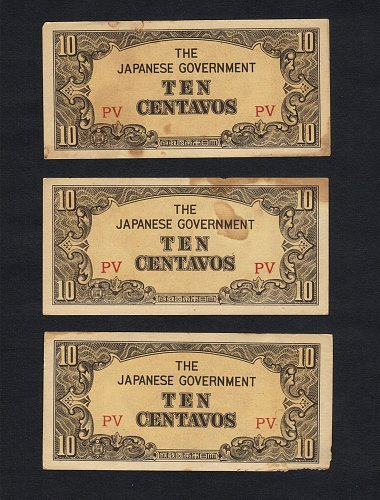Lot Of (3) JAPAN Gov WWII Occupied Invasion Of Philipines Currency Money CENTAVO