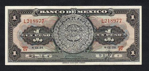 Banco De Mexico Aztec Calender Un peso 1954(09.08,1954) Aztec Calendar AU-Condit